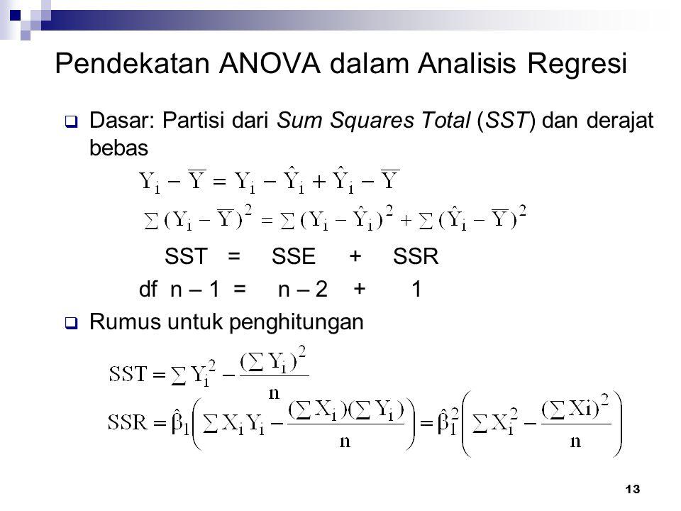 13 Pendekatan ANOVA dalam Analisis Regresi  Dasar: Partisi dari Sum Squares Total (SST) dan derajat bebas SST = SSE + SSR df n – 1 = n – 2 + 1  Rumu