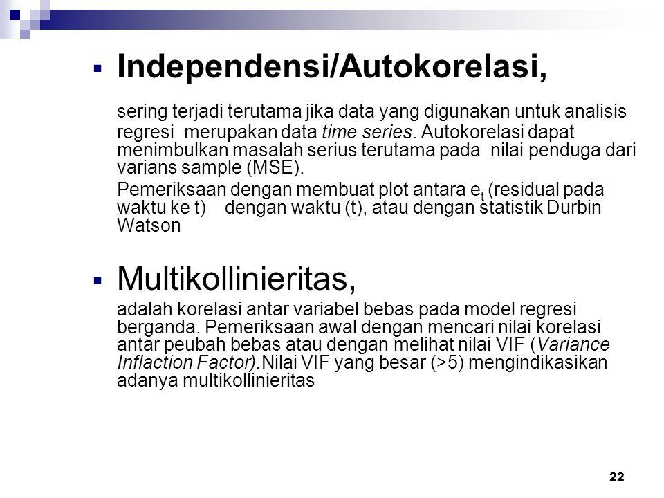 22  Independensi/Autokorelasi, sering terjadi terutama jika data yang digunakan untuk analisis regresi merupakan data time series. Autokorelasi dapat