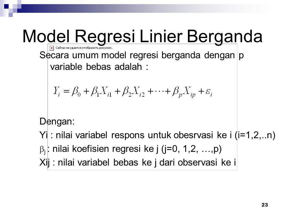 23 Model Regresi Linier Berganda Secara umum model regresi berganda dengan p variable bebas adalah : Dengan: Yi : nilai variabel respons untuk obesrva