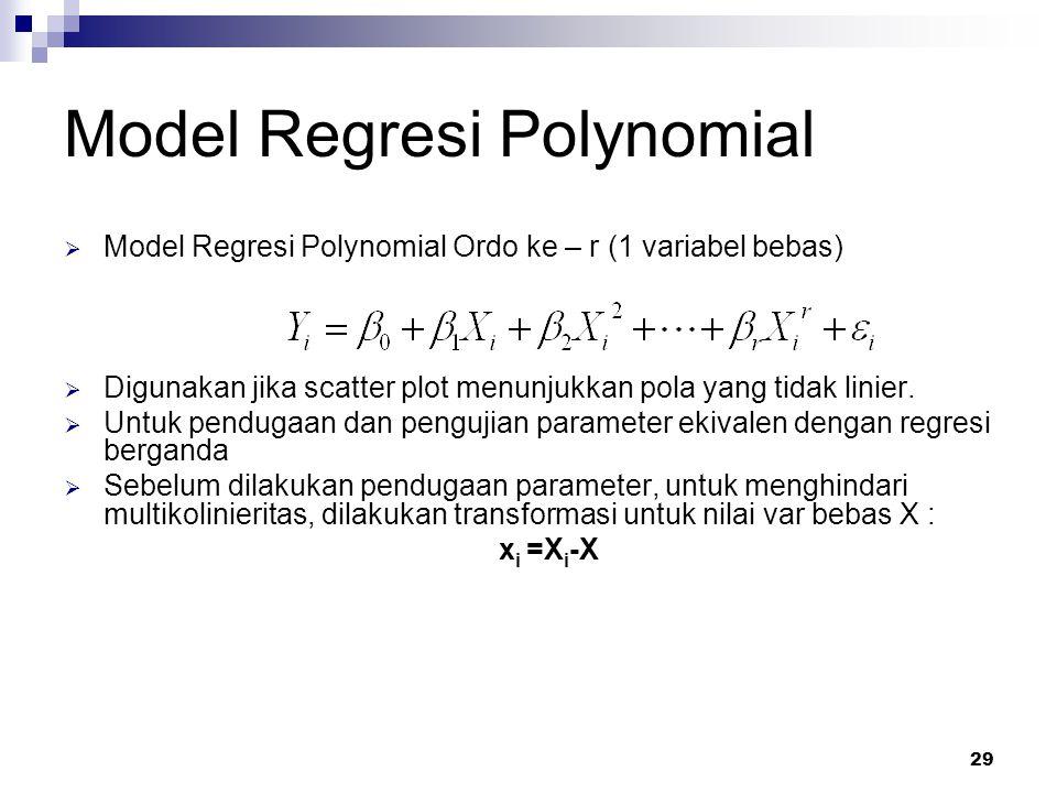 29 Model Regresi Polynomial  Model Regresi Polynomial Ordo ke – r (1 variabel bebas)  Digunakan jika scatter plot menunjukkan pola yang tidak linier