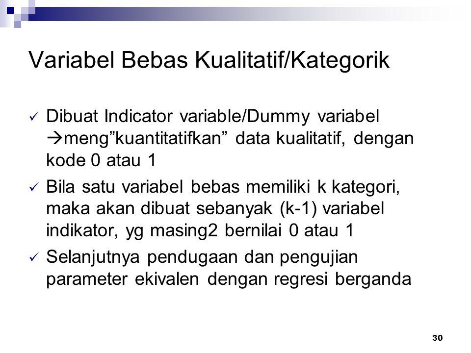 30 Variabel Bebas Kualitatif/Kategorik Dibuat Indicator variable/Dummy variabel  meng kuantitatifkan data kualitatif, dengan kode 0 atau 1 Bila satu variabel bebas memiliki k kategori, maka akan dibuat sebanyak (k-1) variabel indikator, yg masing2 bernilai 0 atau 1 Selanjutnya pendugaan dan pengujian parameter ekivalen dengan regresi berganda