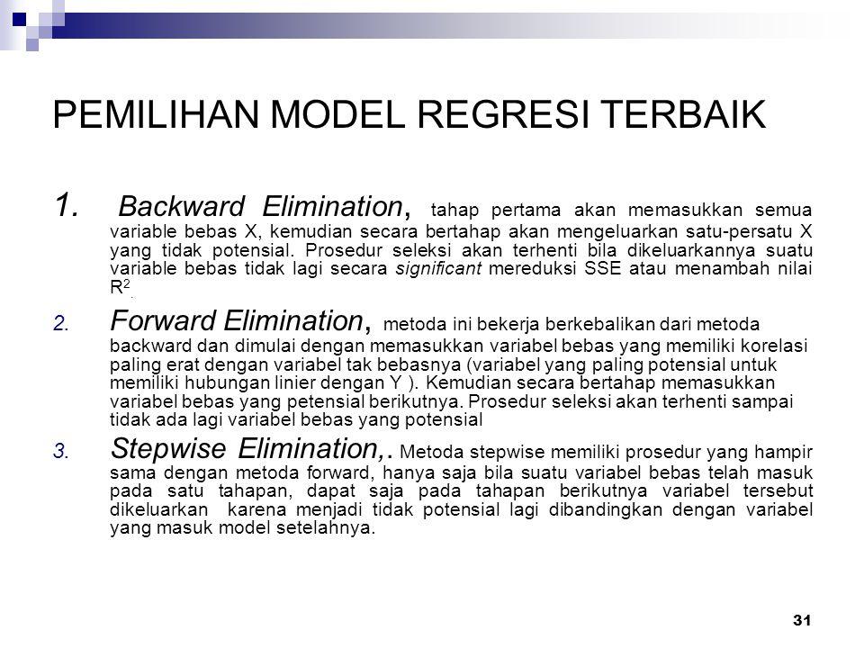 31 PEMILIHAN MODEL REGRESI TERBAIK 1.