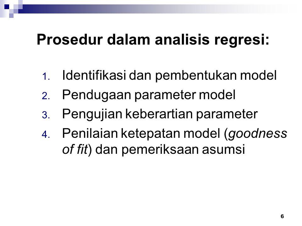 6 Prosedur dalam analisis regresi: 1. Identifikasi dan pembentukan model 2. Pendugaan parameter model 3. Pengujian keberartian parameter 4. Penilaian