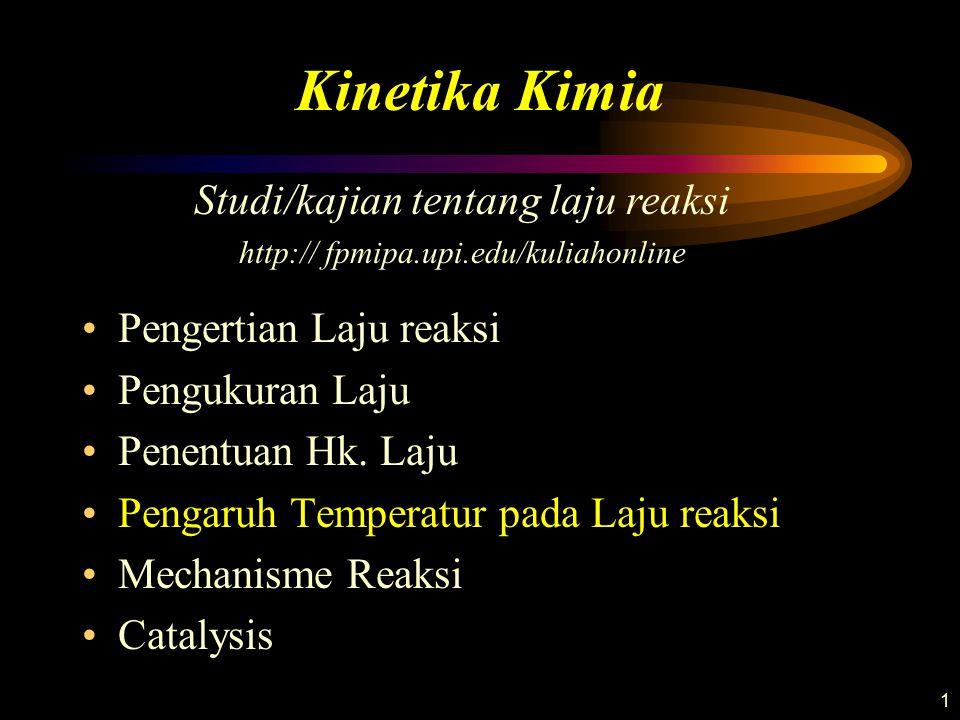 1 Pengertian Laju reaksi Pengukuran Laju Penentuan Hk. Laju Pengaruh Temperatur pada Laju reaksi Mechanisme Reaksi Catalysis Kinetika Kimia Studi/kaji
