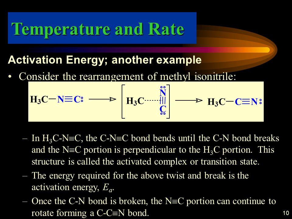 10 Activation Energy; another example Consider the rearrangement of methyl isonitrile: –In H 3 C-N  C, the C-N  C bond bends until the C-N bond brea