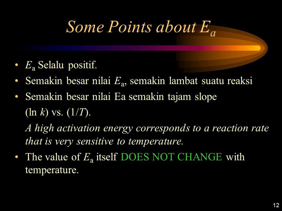 12 Some Points about E a E a Selalu positif. Semakin besar nilai E a, semakin lambat suatu reaksi Semakin besar nilai Ea semakin tajam slope (ln k) vs
