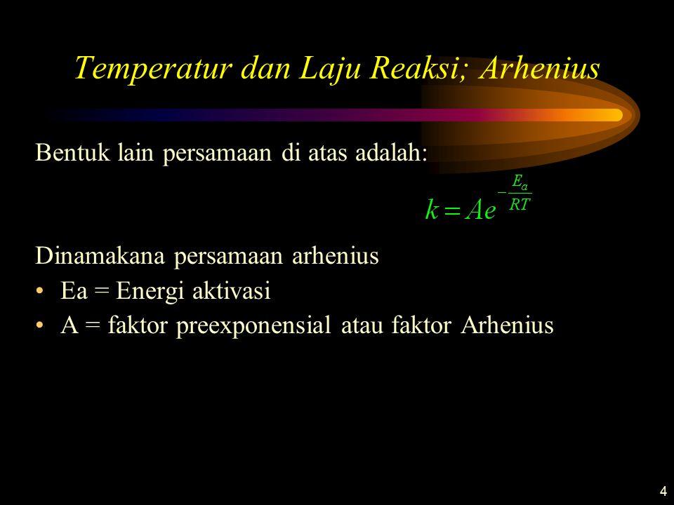 4 Temperatur dan Laju Reaksi; Arhenius Bentuk lain persamaan di atas adalah: Dinamakana persamaan arhenius Ea = Energi aktivasi A = faktor preexponens