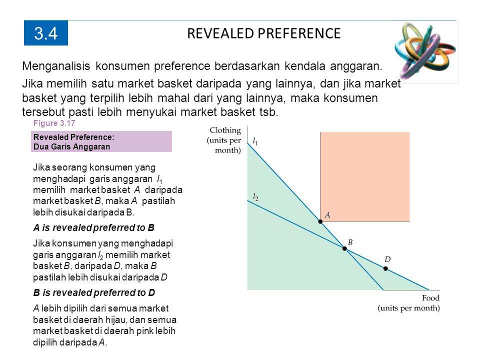 REVEALED PREFERENCE 3.4 Jika seorang konsumen yang menghadapi garis anggaran l 1 memilih market basket A daripada market basket B, maka A pastilah leb