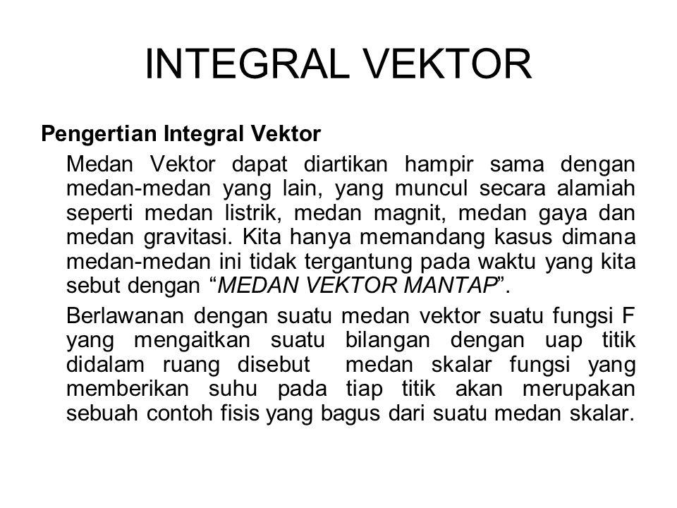 INTEGRAL VEKTOR Pengertian Integral Vektor Medan Vektor dapat diartikan hampir sama dengan medan-medan yang lain, yang muncul secara alamiah seperti m
