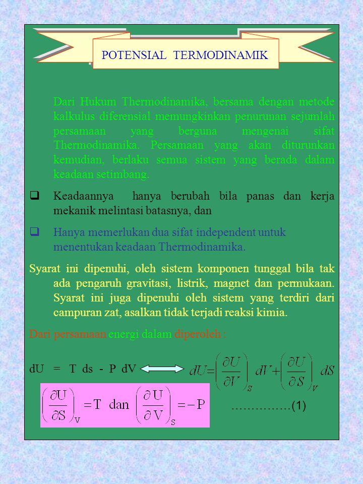 Dari Hukum Thermodinamika, bersama dengan metode kalkulus diferensial memungkinkan penurunan sejumlah persamaan yang berguna mengenai sifat Thermodina