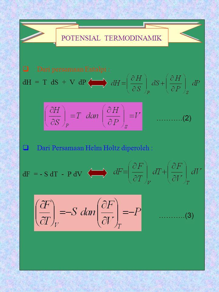 DD ari persamaan Entalpi : dH = T dS + V dP DD ari Persamaan Helm Holtz diperoleh : dF = - S dT - P dV POTENSIAL TERMODINAMIK ………..(2) ………..(3)