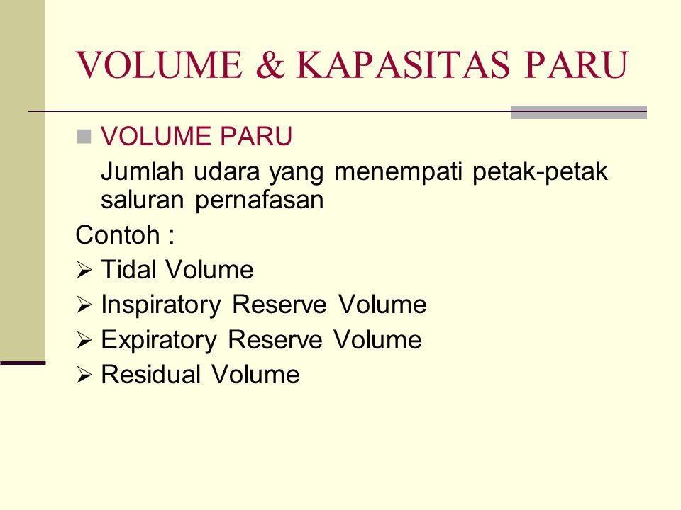 VOLUME & KAPASITAS PARU VOLUME PARU Jumlah udara yang menempati petak-petak saluran pernafasan Contoh :  Tidal Volume  Inspiratory Reserve Volume 