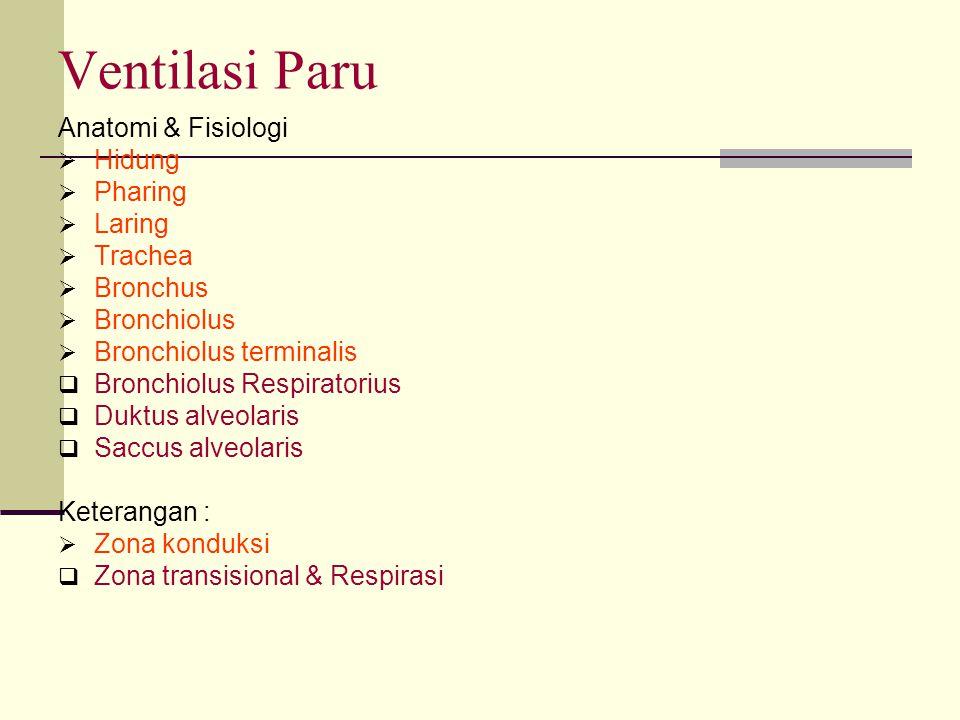 Ventilasi Paru Anatomi & Fisiologi  Hidung  Pharing  Laring  Trachea  Bronchus  Bronchiolus  Bronchiolus terminalis  Bronchiolus Respiratorius