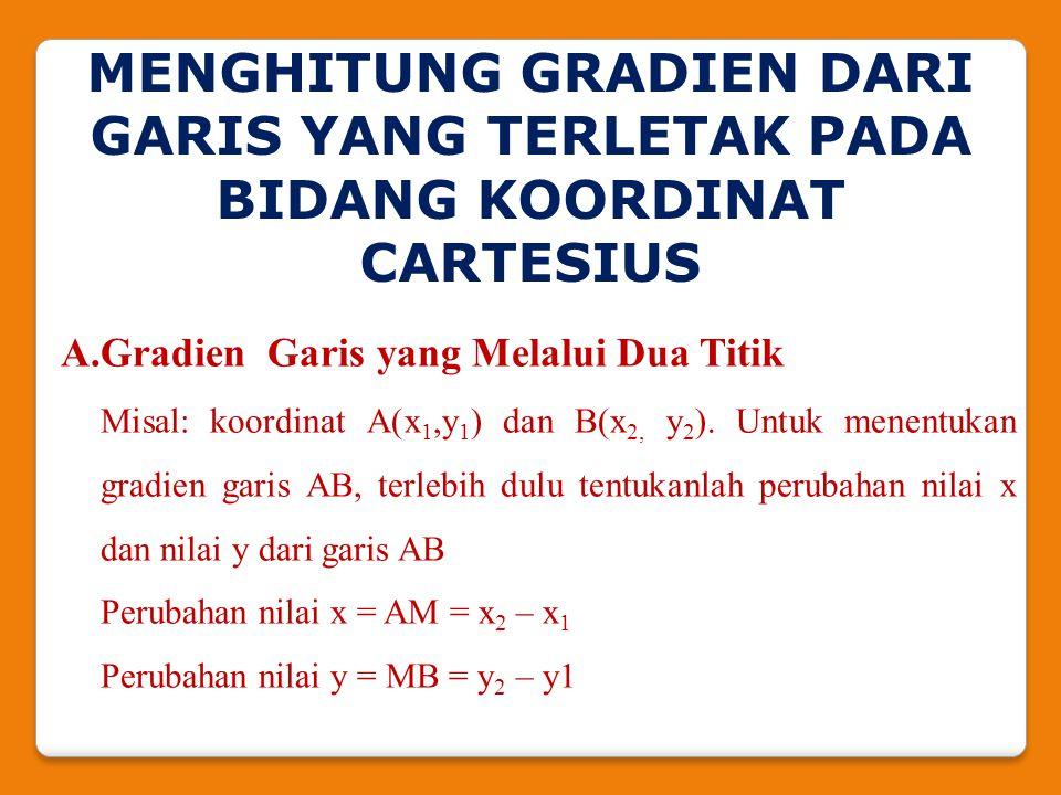 2.Tentukan persamaan garis yang bergradien 4 dan melalui titik (0, -7) Jawab: Gradien = 4, maka m =4 Melalui (0, -7), maka c = -7 Persamaan garisnya adalah: y = mx + c y= 4x – 7 3.Tentukan gradien dari persamaan garis dari: x + 2y + 6 = 0 Jawab : Persamaan garis 3x + y + 6 = 0 diubah terlebih dahulu menjadi bentuk y = mx + c sehingga menjadi y = -3x – 6