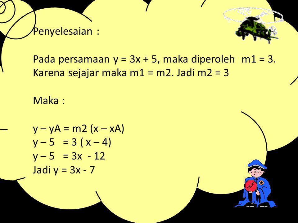3. Menentukan Persamaan Garis Lurus Melalui Satu Titik dan Sejajar dengan Garis y = mx + c Dua garis yang sejajar : mempunyai arah yang sama dan koefi