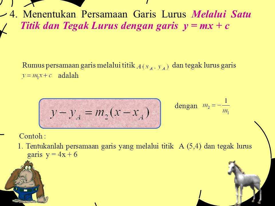 Penyelesaian : Pada persamaan y = 3x + 5, maka diperoleh m1 = 3. Karena sejajar maka m1 = m2. Jadi m2 = 3 Maka : y – yA = m2 (x – xA) y – 5 = 3 ( x –