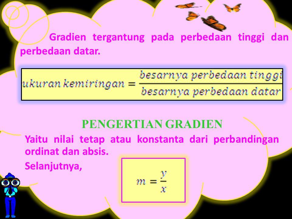 Gradien tergantung pada perbedaan tinggi dan perbedaan datar.