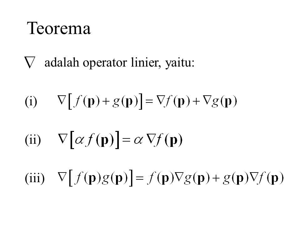 Teorema adalah operator linier, yaitu: (i) (ii) (iii)