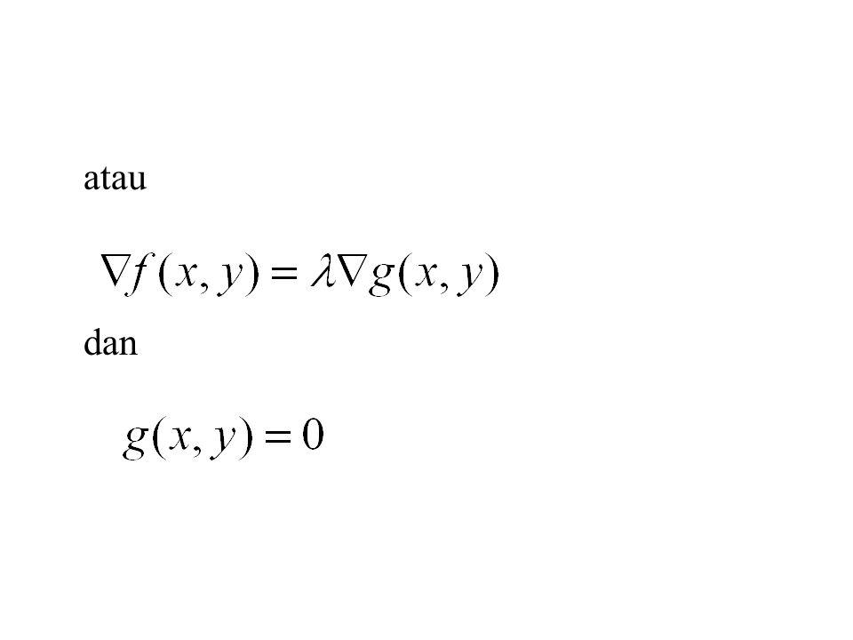 Jika mencari ekstrim suatu fungsi f tiga peubah, terhadap dua kendala dan diselesaikan dengan persamaan dan dan adalah pengali-pengali Lagrange