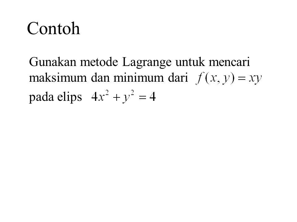 Latihan 1.Carilah volume terbesar suatu balok yang terdapat di dalam elipsoid 2.Carilah titik pada permukaan bola yang paling dekat dengan titik (2, 3, 4).