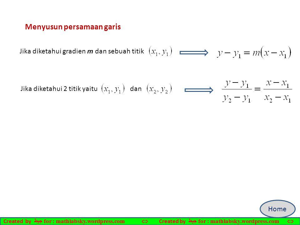 Menyusun persamaan garis Jika diketahui gradien m dan sebuah titik Jika diketahui 2 titik yaitu dan Home Created by ﺠﻴﻄ for : mathlabsky.wordpress.com