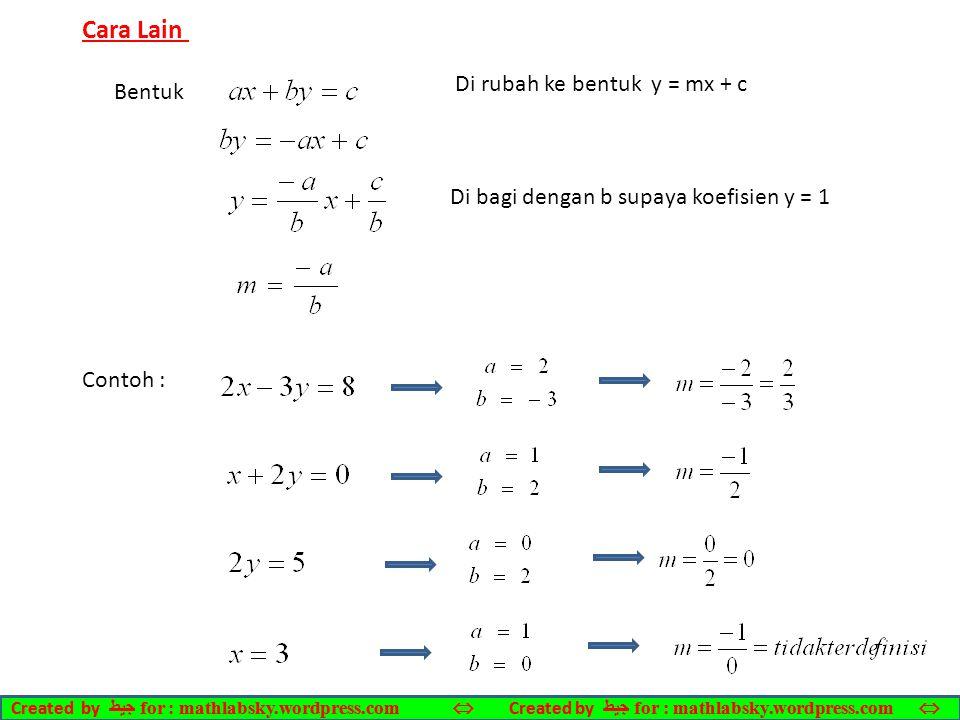 Bentuk Cara Lain Di rubah ke bentuk y = mx + c Di bagi dengan b supaya koefisien y = 1 Contoh : Created by ﺠﻴﻄ for : mathlabsky.wordpress.com 
