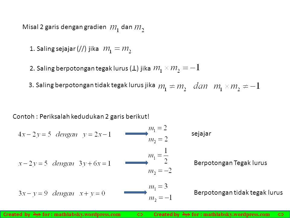 Misal 2 garis dengan gradien dan 1.Saling sejajar (//) jika 2.