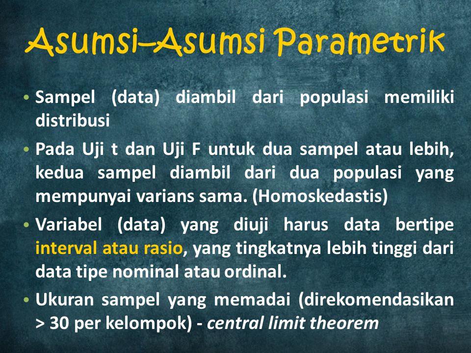 Sampel (data) diambil dari populasi memiliki distribusi Pada Uji t dan Uji F untuk dua sampel atau lebih, kedua sampel diambil dari dua populasi yang