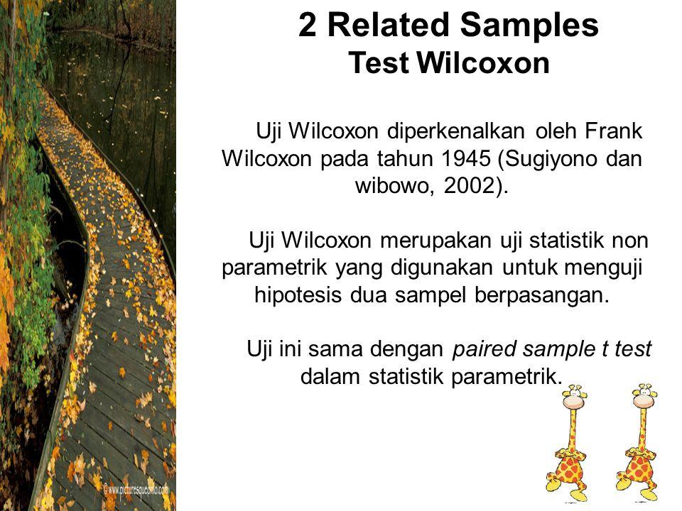 2 Related Samples Test Wilcoxon Uji Wilcoxon diperkenalkan oleh Frank Wilcoxon pada tahun 1945 (Sugiyono dan wibowo, 2002).