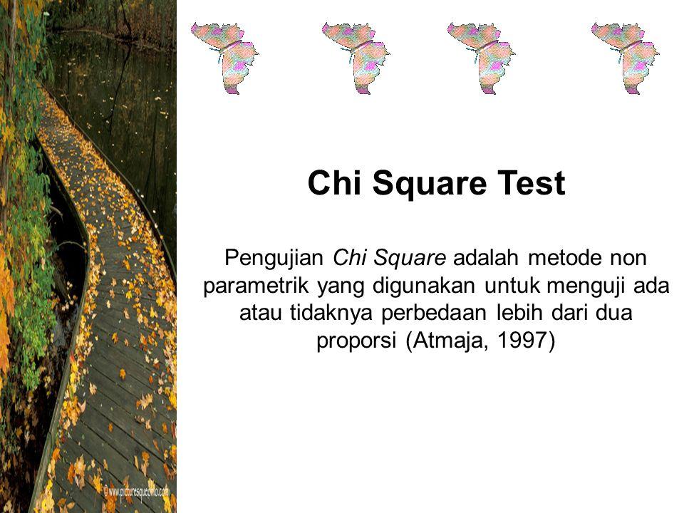 Chi Square Test Pengujian Chi Square adalah metode non parametrik yang digunakan untuk menguji ada atau tidaknya perbedaan lebih dari dua proporsi (Atmaja, 1997)