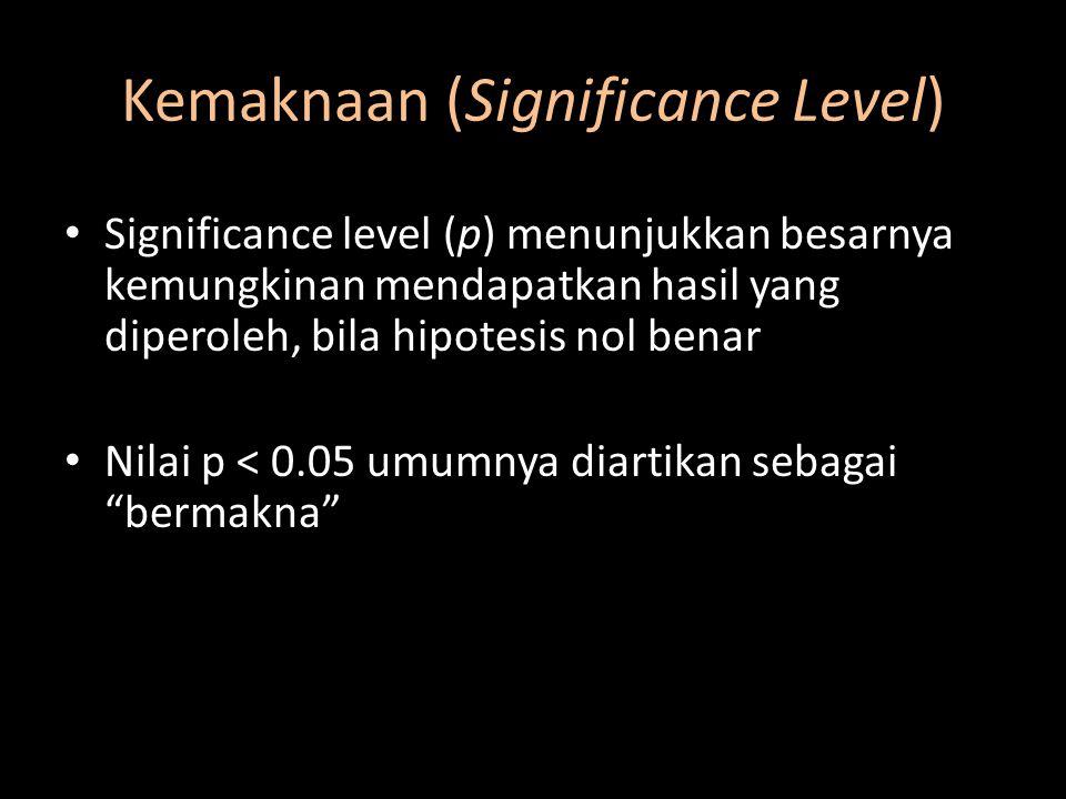 Kemaknaan (Significance Level) Significance level (p) menunjukkan besarnya kemungkinan mendapatkan hasil yang diperoleh, bila hipotesis nol benar Nila