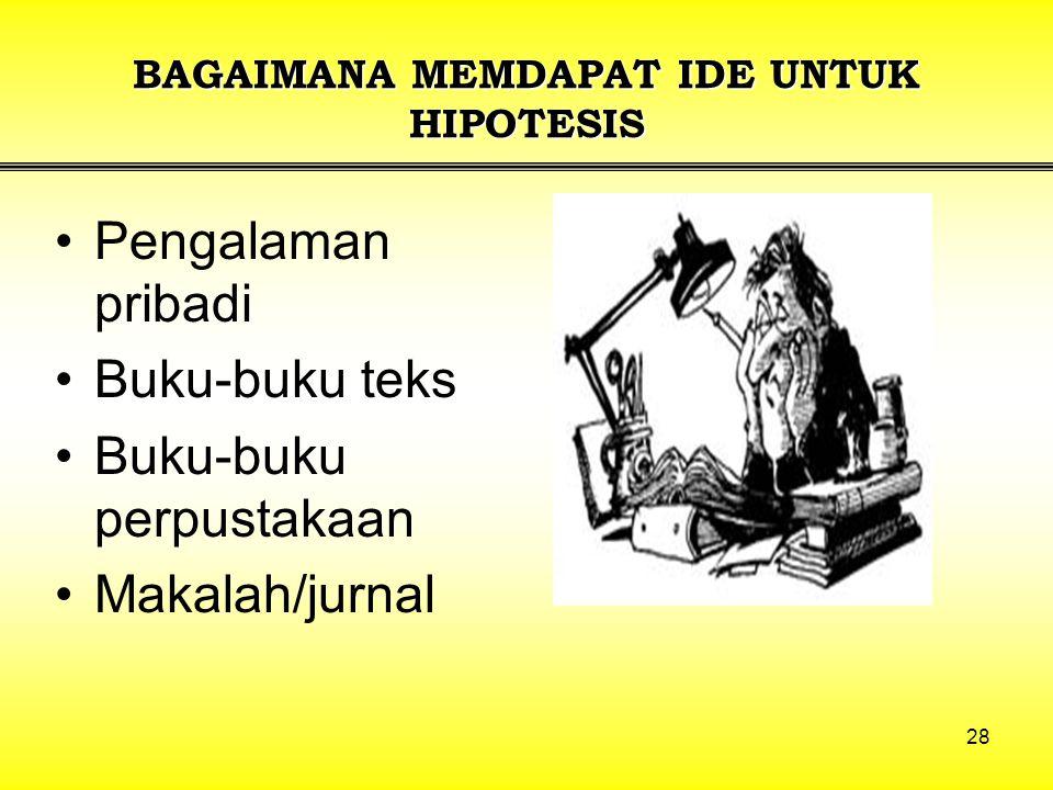 28 BAGAIMANA MEMDAPAT IDE UNTUK HIPOTESIS Pengalaman pribadi Buku-buku teks Buku-buku perpustakaan Makalah/jurnal