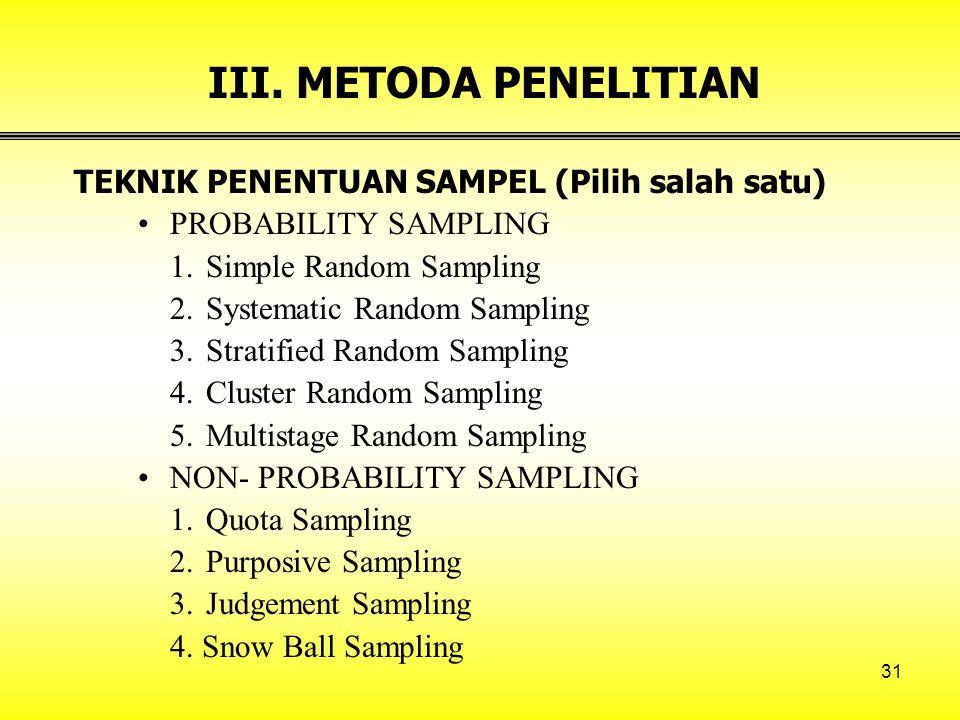 31 III. METODA PENELITIAN TEKNIK PENENTUAN SAMPEL (Pilih salah satu) PROBABILITY SAMPLING 1.Simple Random Sampling 2.Systematic Random Sampling 3.Stra