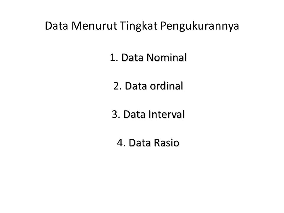 Data Menurut Tingkat Pengukurannya Data Nominal 1. Data Nominal Data ordinal 2. Data ordinal Data Interval 3. Data Interval Data Rasio 4. Data Rasio