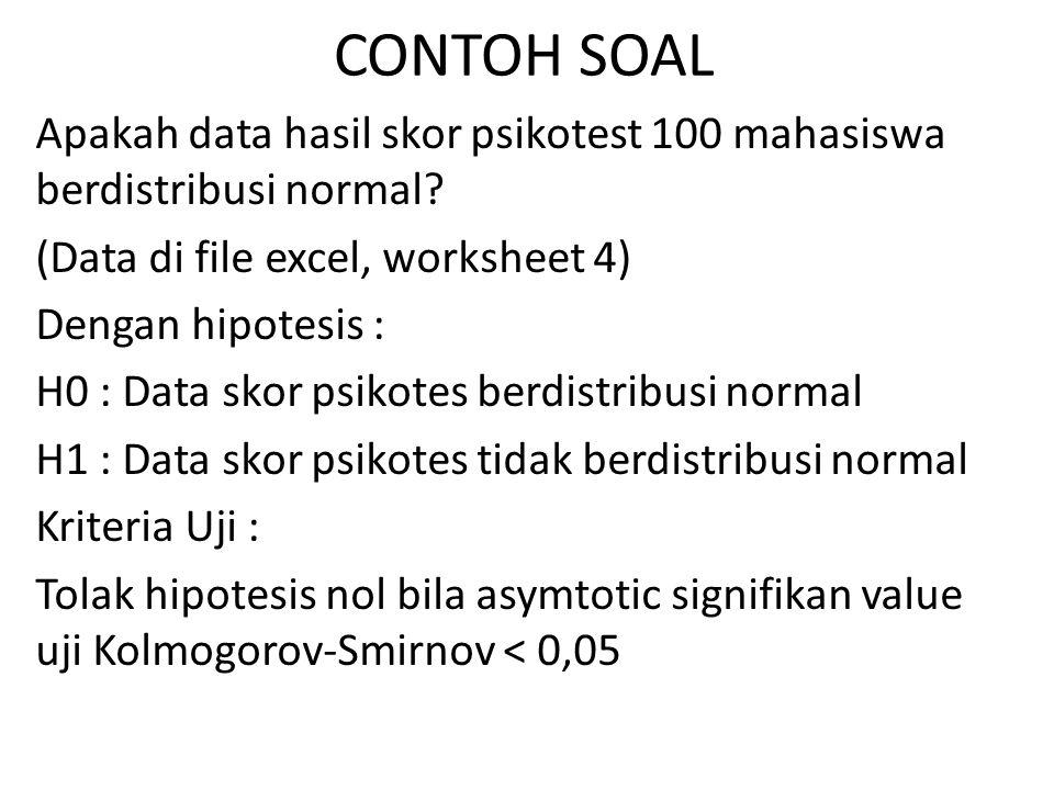 CONTOH SOAL Apakah data hasil skor psikotest 100 mahasiswa berdistribusi normal? (Data di file excel, worksheet 4) Dengan hipotesis : H0 : Data skor p