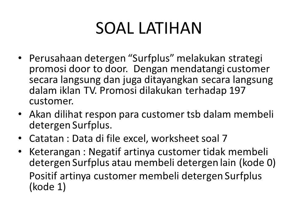 """SOAL LATIHAN Perusahaan detergen """"Surfplus"""" melakukan strategi promosi door to door. Dengan mendatangi customer secara langsung dan juga ditayangkan s"""