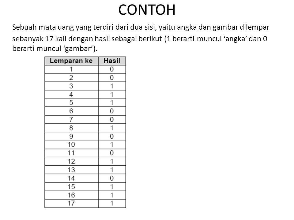 CONTOH Sebuah mata uang yang terdiri dari dua sisi, yaitu angka dan gambar dilempar sebanyak 17 kali dengan hasil sebagai berikut (1 berarti muncul 'a