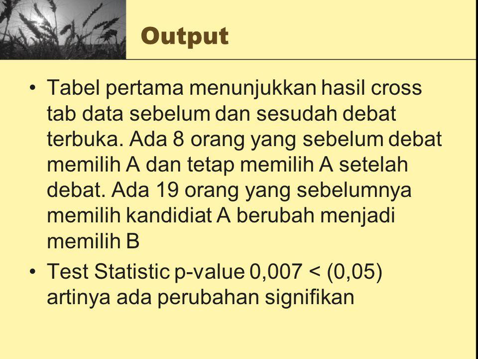 Output Tabel pertama menunjukkan hasil cross tab data sebelum dan sesudah debat terbuka. Ada 8 orang yang sebelum debat memilih A dan tetap memilih A