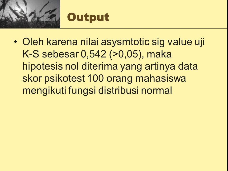 Output Oleh karena nilai asysmtotic sig value uji K-S sebesar 0,542 (>0,05), maka hipotesis nol diterima yang artinya data skor psikotest 100 orang ma