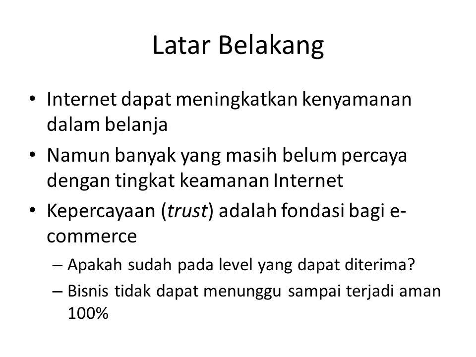 Latar Belakang Internet dapat meningkatkan kenyamanan dalam belanja Namun banyak yang masih belum percaya dengan tingkat keamanan Internet Kepercayaan