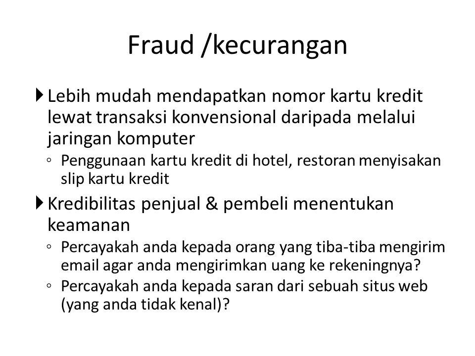 Fraud /kecurangan  Lebih mudah mendapatkan nomor kartu kredit lewat transaksi konvensional daripada melalui jaringan komputer ◦ Penggunaan kartu kred