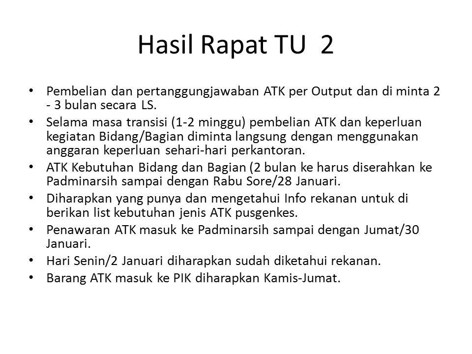 Hasil Rapat TU 2 Pembelian dan pertanggungjawaban ATK per Output dan di minta 2 - 3 bulan secara LS. Selama masa transisi (1-2 minggu) pembelian ATK d