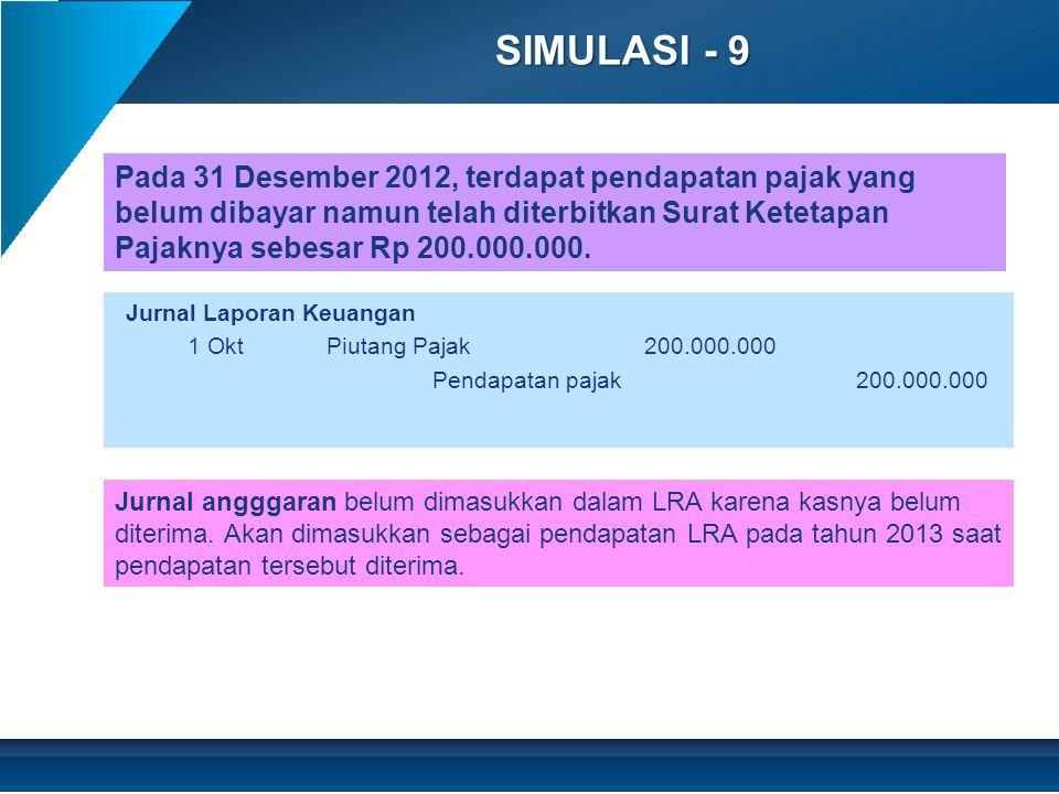 SIMULASI - 9 Jurnal Laporan Keuangan 1 OktPiutang Pajak200.000.000 Pendapatan pajak200.000.000 Jurnal angggaran belum dimasukkan dalam LRA karena kasnya belum diterima.