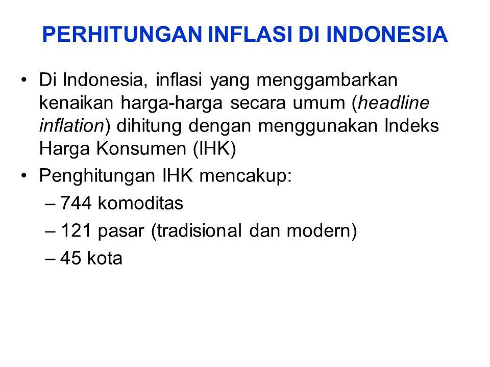 Di Indonesia, inflasi yang menggambarkan kenaikan harga-harga secara umum (headline inflation) dihitung dengan menggunakan Indeks Harga Konsumen (IHK)