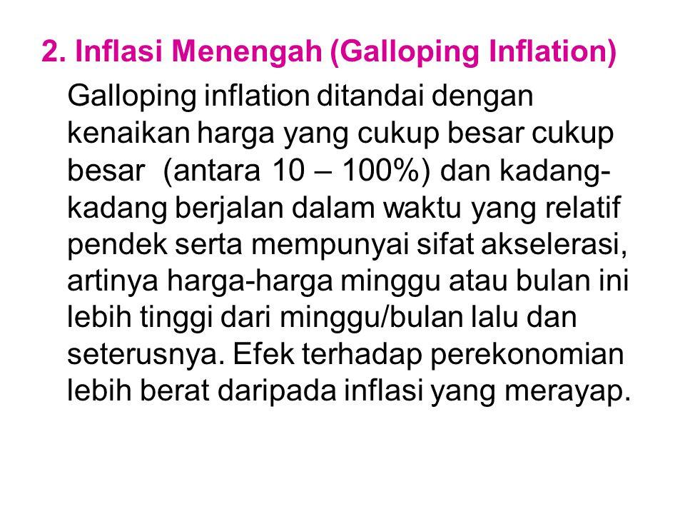2. Inflasi Menengah (Galloping Inflation) Galloping inflation ditandai dengan kenaikan harga yang cukup besar cukup besar (antara 10 – 100%) dan kadan