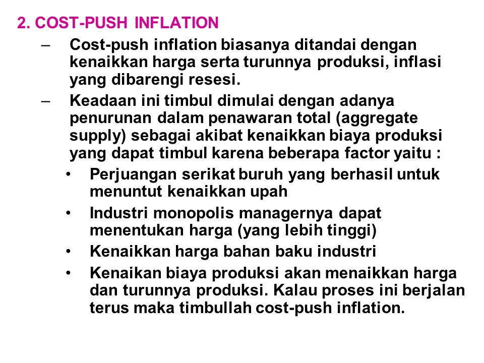 2. COST-PUSH INFLATION –Cost-push inflation biasanya ditandai dengan kenaikkan harga serta turunnya produksi, inflasi yang dibarengi resesi. –Keadaan