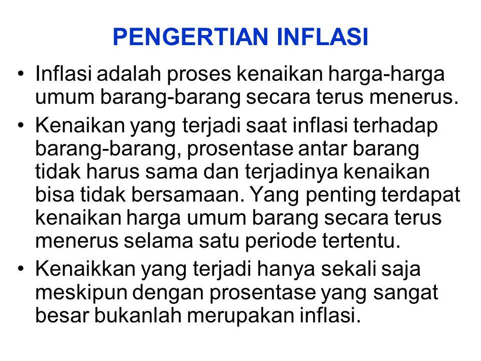 PENGERTIAN INFLASI Inflasi adalah proses kenaikan harga-harga umum barang-barang secara terus menerus. Kenaikan yang terjadi saat inflasi terhadap bar