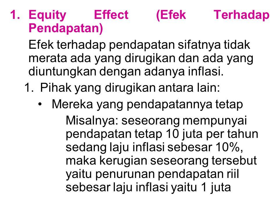 1.Equity Effect (Efek Terhadap Pendapatan) Efek terhadap pendapatan sifatnya tidak merata ada yang dirugikan dan ada yang diuntungkan dengan adanya in