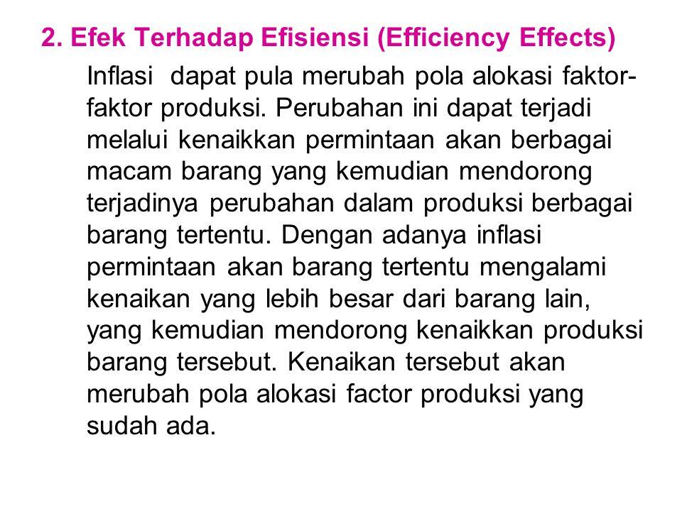 2. Efek Terhadap Efisiensi (Efficiency Effects) Inflasi dapat pula merubah pola alokasi faktor- faktor produksi. Perubahan ini dapat terjadi melalui k