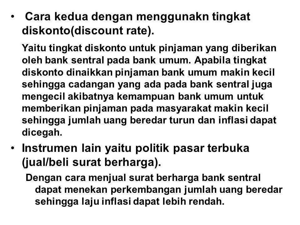Cara kedua dengan menggunakn tingkat diskonto(discount rate). Yaitu tingkat diskonto untuk pinjaman yang diberikan oleh bank sentral pada bank umum. A